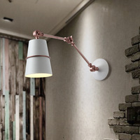 Vintage industrial style loft creative minimalist long arm LED wall lamp adjustable Handle Metal Rustic Light Sconce Fixtures