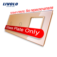 Free Shipping Livolo Golden Pearl Crystal Glass 223mm 80mm EU Standard 2Gang 1 Frame Glass Panel