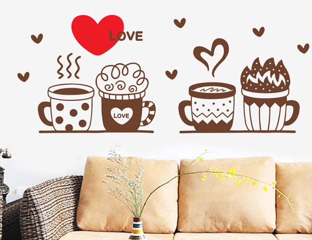 Cute Coffee Cup DIY Wall Sticker Cafe Restaurant Bedroom Office Pattern Decal Sitting Room Mural Art
