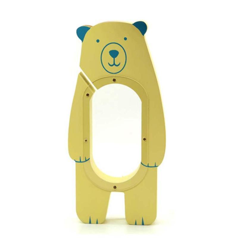 Wooden Cartoon Bear Transparent saving money piggy bank childrens coins collector Girl will money box Safe Kids Gift 3