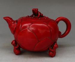 Chińskie sztuczne czerwone żywiczne ręczne rzeźby w żabkach i lotosowym posągu czajniczek|Posągi i rzeźby|Dom i ogród -
