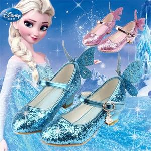 Image 1 - Congelado elsa princesa sapatos primavera e outono modelos rosa azul sapatos infantis elsa meninas saltos altos 26 38