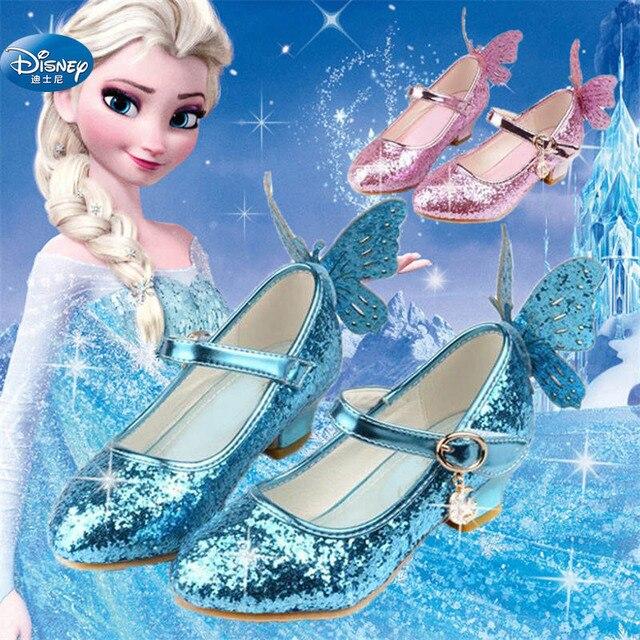Congelado elsa princesa sapatos primavera e outono modelos rosa azul sapatos infantis elsa meninas saltos altos 26 38