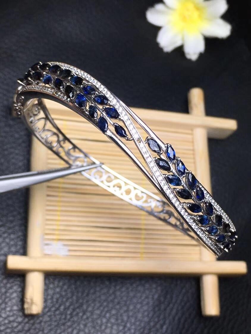 Takı ve Aksesuarları'ten Bilezik ve Halhallar'de Son tasarım Doğal Safir Bilezik high end takı Tekel 925 gümüş giyim mükemmel etkisi'da  Grup 3
