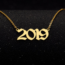 Custom Old English Year Number Necklace Fashion Bijoux Femme 2019 numeral figure For Women Collar Mujer custom jewelry
