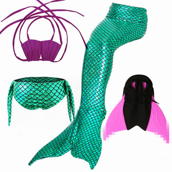 4pcs/Set 2018 New Girls Ariel Swimsuit Swimming Mermaid Tail with Monofin Fin Swimmable Children Mermaid Tails Costume Kids Suit