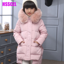HSSCZL girls down jacket girl coat large Artificial fur hooded collar long children outerwear parka coats