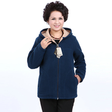 Winter Middle Aged Womens Hooded Imitation Lambs Fleece Jackets Ladies Warm Soft Velevt Coats Mother Overcoats