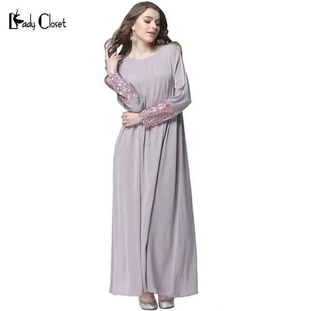 Турецкие женщины одежда мусульманин платье исламский абая мусульманского абая вышивка vestidos лонгос дубай кафтан хиджаб одежды Серый