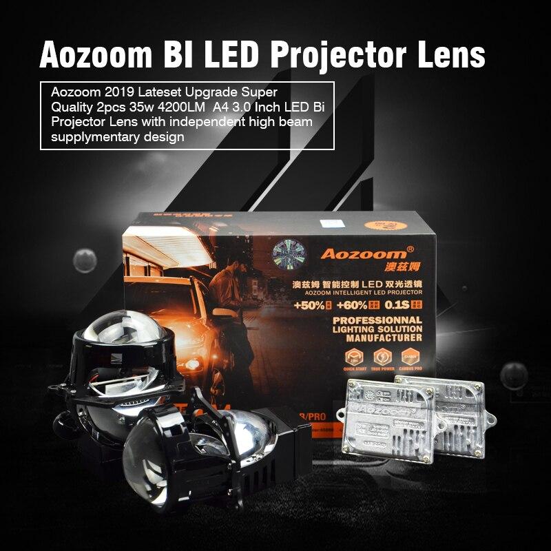 Aozoom 2019 dernière mise à niveau Super qualité 2 pièces 35 w 4200LM A4 3.0 pouces LED Bi projecteur lentille avec faisceau de route indépendant supplyme
