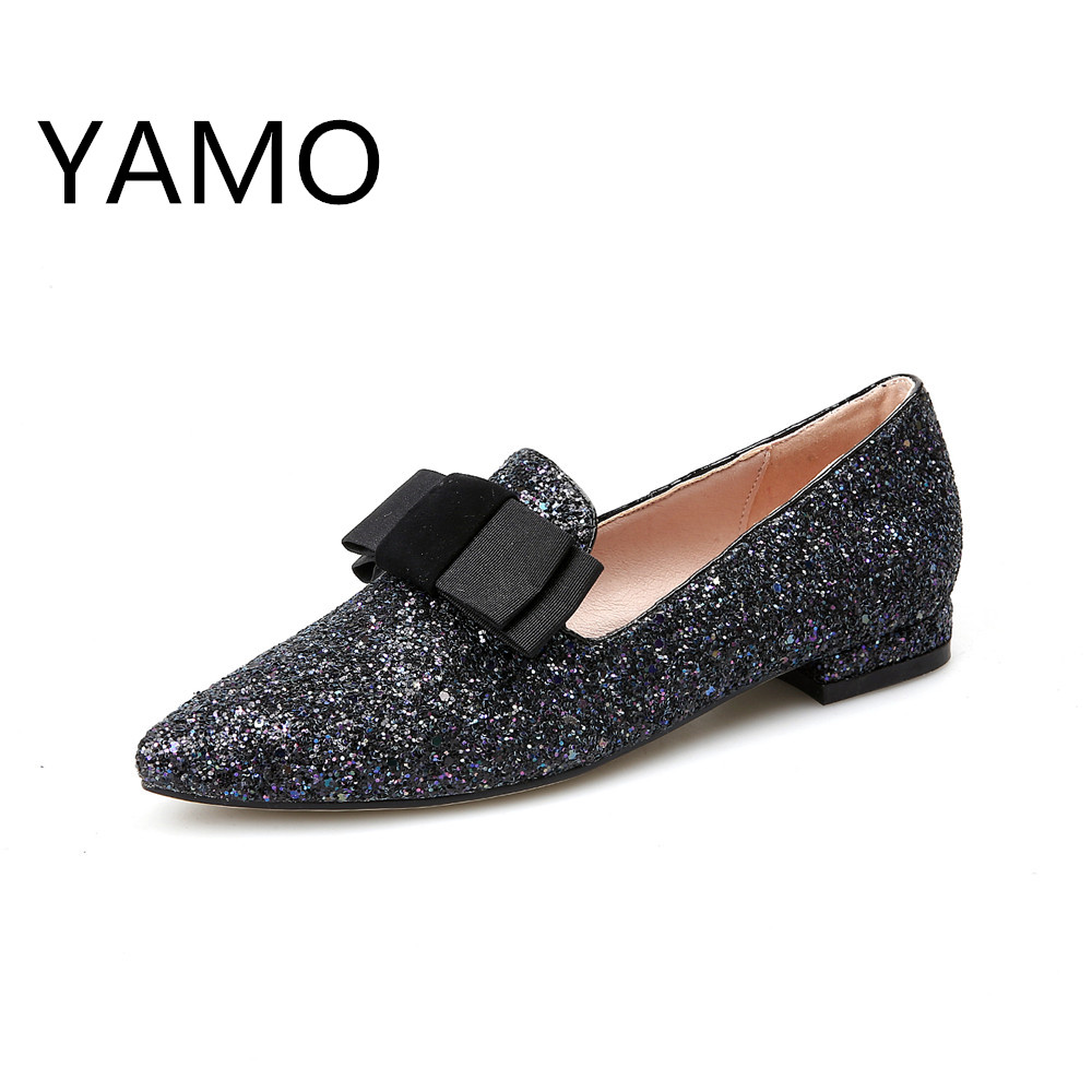 New 2017 women flats pointed toe flat shoes woman fashion glitter slip on silver shoes black spring ladies shoes with bow 2017 new fashion spring ladies pointed toe shoes woman flats crystal diamond silver wedding shoes for bridal plus size hot sale