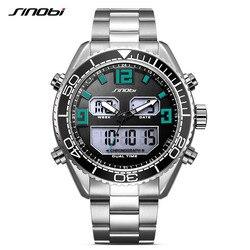 SINOBI zegarek męski Sport stalowy podwójny cyfrowy kwarcowy elektroniczny zegarek wodoodporny męski chronograf wojskowy data Relogio Masculino