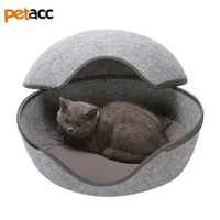 Petacc High Quality Warm Felt Pet House Detachable Cat Bed Washable Cave Nest For Small Sized