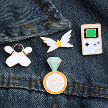 shshd White Enamel Pins Cartoon Game Machine Medal Bowling Brooch for Men Lapel Pin Badges Kids Backpack Decoration Jewelry Gift(China)