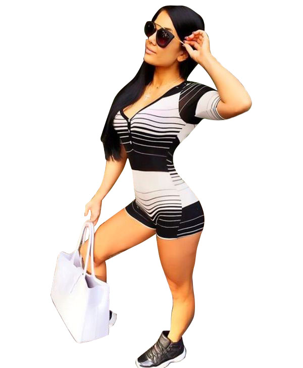 Summer new fashion sexy conjoined shorts stripe printed package buttocks jumpsuits jumpsuits cultivate ones morality