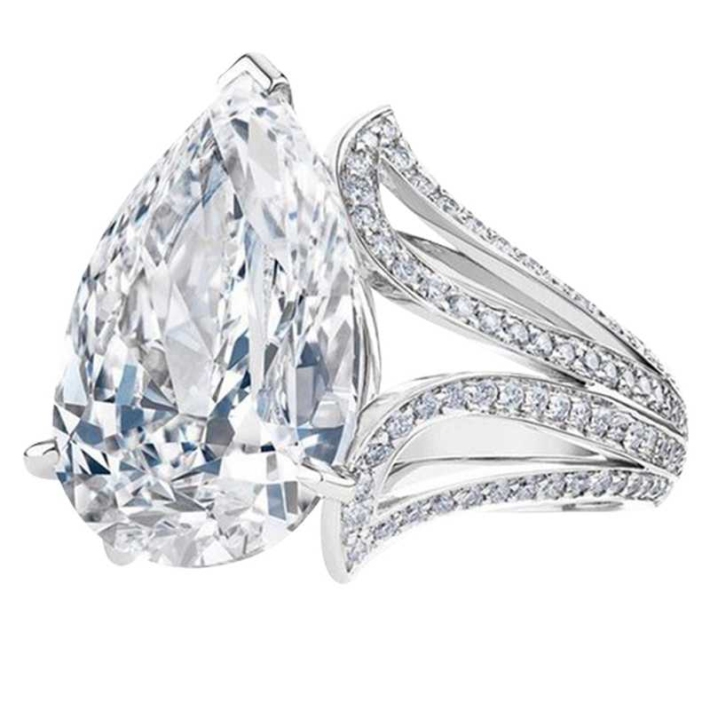 Big Blue Pear Cubic Zircon Stone Rings for Women Fashion Engagement Party Jewelry Valentines Day Gift