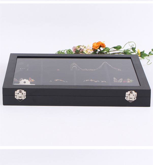 Hot Sale 12 Slots Glass Top Jewelry Display Box Showcase Earring