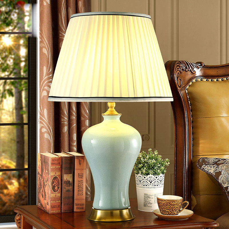 high end elegant chinese handmade ceramic linen fabric led e27 adjustable table lamp for wedding decor