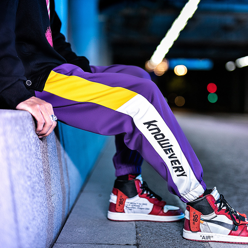 High Street Dark Souls Cargo Pants Men Letter Print Side Patchwork Purple Jogger Pants Men Hip Hop Rock Punk Dance Trousers Male
