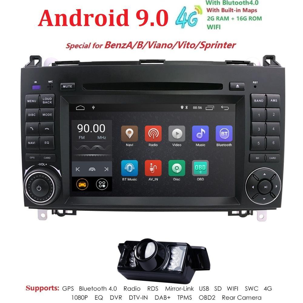 Android 9.0 2din B200 Auto rádio multimídia Carro DVD para Mercedes Benz Viano Vito Classe A B W169 W245 W639 sprinter W906 WIFI GPS