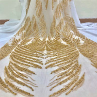 Fashion African Lace Fabric High Quality Gold Lace Nigerian Lace Fabric 2018 High Quality Lace With handmade Beaded 5yardsH1270