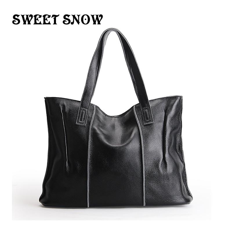 SWEET SNOW New Genuine Leather Handbag Head Layer Cowhide Women Hand bag Luxury Designer Shoulder Bag