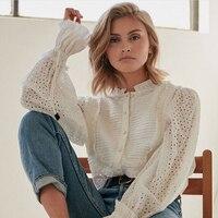 High Quality Runway Shirt Women Ruffles Full Lantern Sleeve Shirts Female Fashion Tops