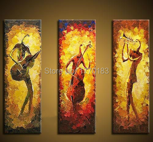 museum quality bright abstract hand oil painting jazz music figures ...