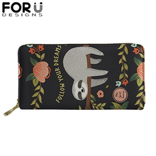 FORUDESIGNS Cute Sloth PU Leather Wallets for Woman Lady Zipper Long Purses Girls High Quality Money Coin Bag Card Holders
