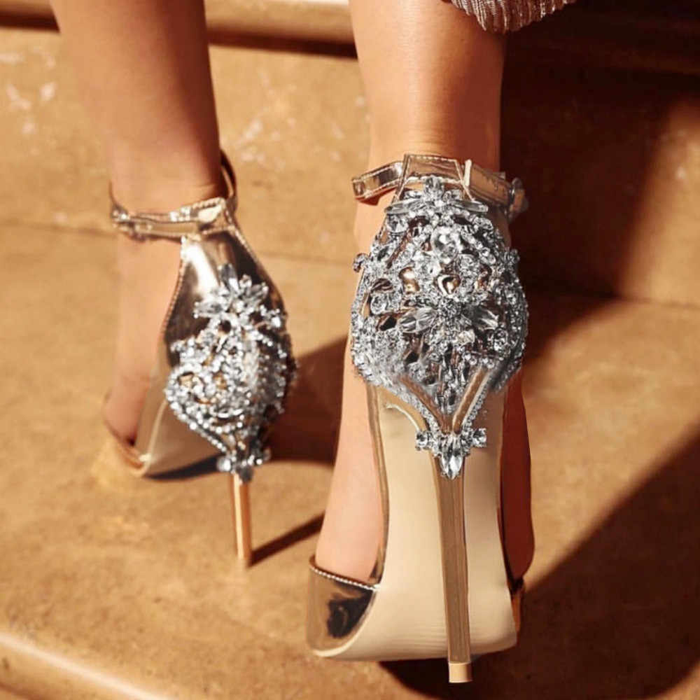 Women Sandals Rhinestones Crystal Wedding Heels With Buckle Ankle Strap  Evening Party Pointed Toe Beautiful Comfortable cf41ea24778a