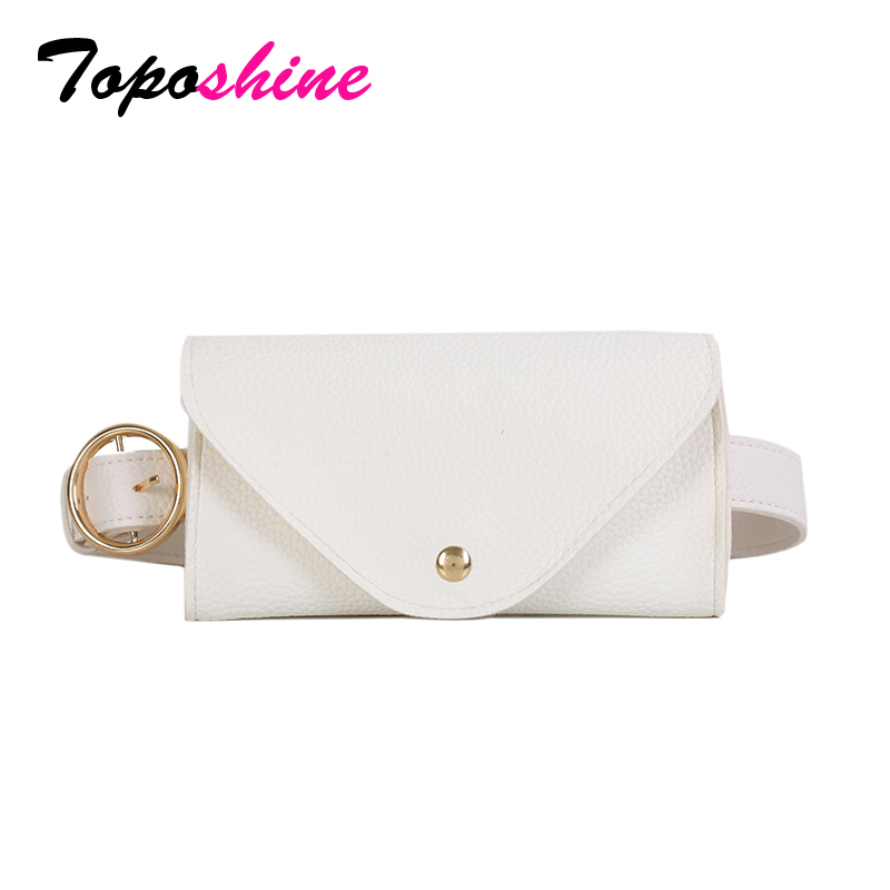 Toposhine 2018 Women Belt Waist Bag Solid Color Black White Khaki PU Leather Mini-bag Long Belt Women Fashion Tide All-match