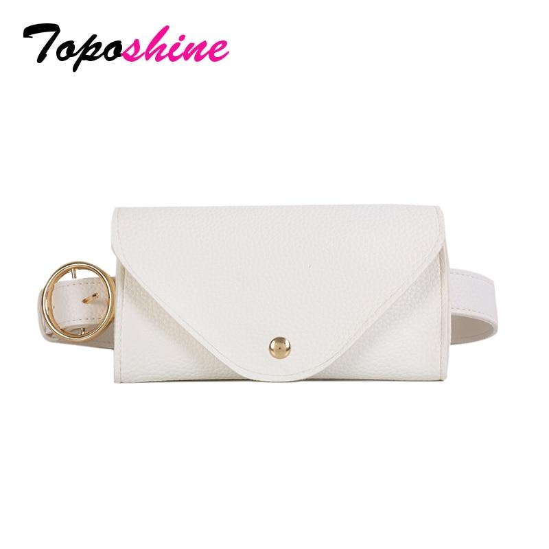 Toposhine 2018 Women Belt Waist Bag Solid Color Black White Khaki PU Leather Mini-bag Long Belt Women Fashion Tide All-match