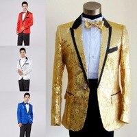 Paillette Male Master Sequins Dresses Stage Costumes Men Terno Suit MC Host Clothing Singer Suits Blazer