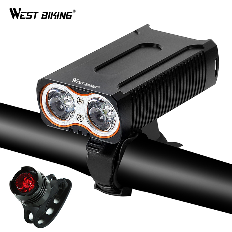 WEST BIKING Waterproof Bicycle Lights MAX 2400LM USB Charging 2 T6 LED Cycling Headlight Front Lamp + Free Taillight Bike Light west biking taillight rechargeable 7 models smart usb waterproof ce rhos fcc msds certification cycling bike bicycle tail light