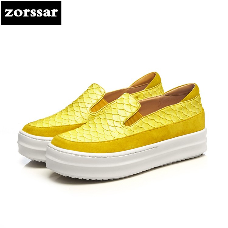{Zorssar} Genuine Leather fashion womens shoes casual flat shoes high quality Women sneakers platform Casual Flats Loafers shoes instantarts women flats emoji face smile pattern summer air mesh beach flat shoes for youth girls mujer casual light sneakers