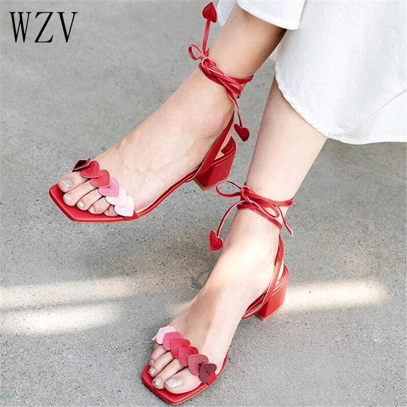 2019 Cross-tied Women Sandals Love High Heels Summer Ankle Strap Square Heel Fashion Sandals Women Pumps E9062019 Cross-tied Women Sandals Love High Heels Summer Ankle Strap Square Heel Fashion Sandals Women Pumps E906