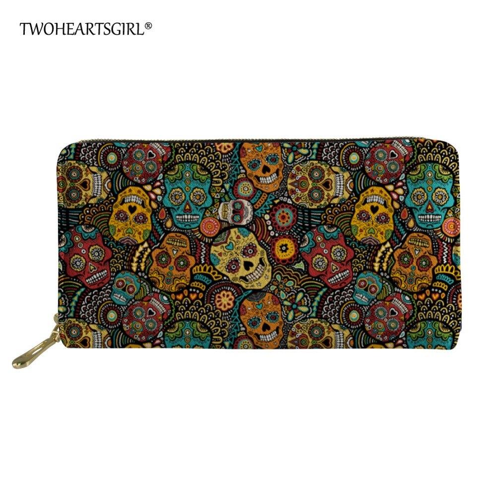 Twoheartsgirl Colorful Sugar Skull Print Leather Wallet For Women Long Organizer Female Ladies Clutch Phone Bag Credit Card Bags