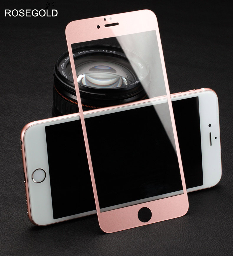 High Quality 9H Full Screen Colorful Tempered Glass for IPhone 5 5S 5C SE 6 6S 6Plus 6sPlus 8 7 7Plus Screen Protector Film Case