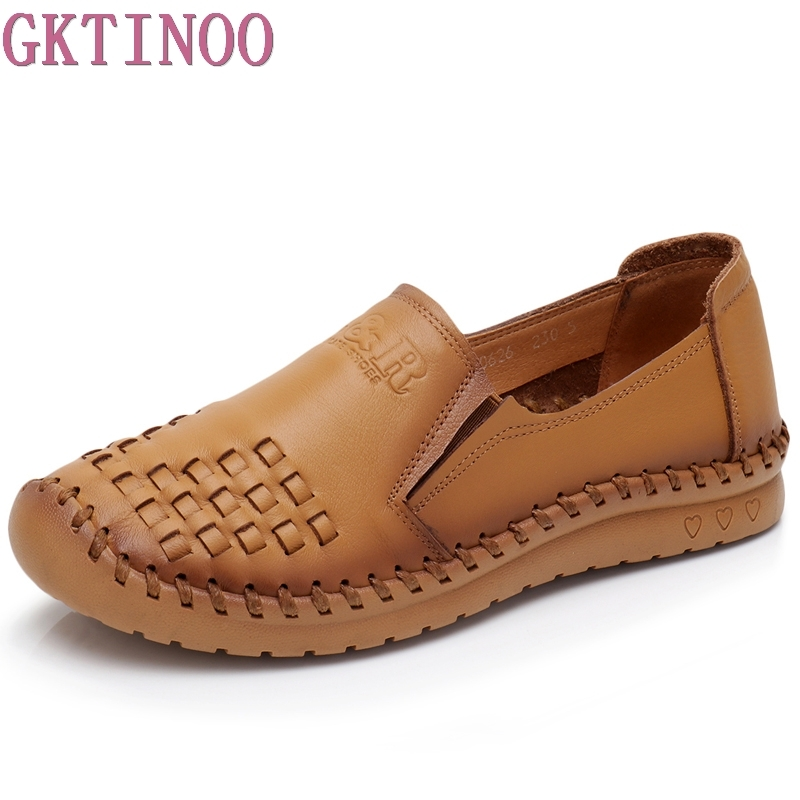 GKTINOO Casual Shoe Women Genuine Leather Shoes Flats Flexible Nurse Loafer Flats Comfortable Mom Pregnant Shoes Lady Big Size пневматические детали smc sy5120 5lzd 01 sy3120 5lzd m5 dc24v