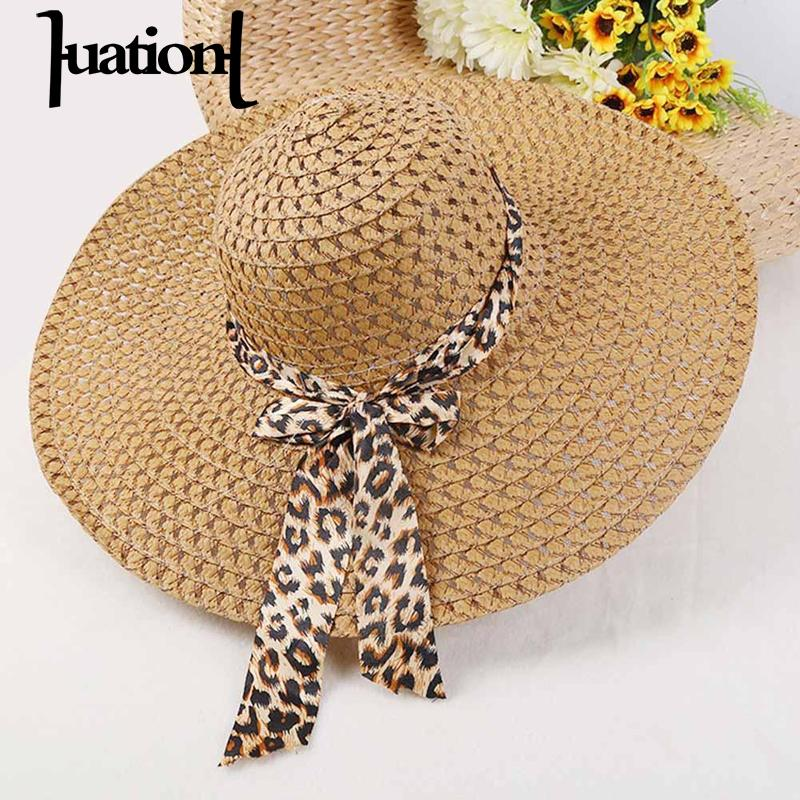 Huation 2018 New Sun Hats for Women Girls Wide Brim Floppy Straw Hat Summer Bohemia Beach Cap Leopard Ribbon chapeau femme ete(China)