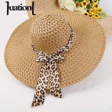 Huation 2018 novos chapéus de sol para as mulheres meninas aba larga floppy  chapéu de palha verão bohemia praia cap fita leopard. 7c8b740ff7