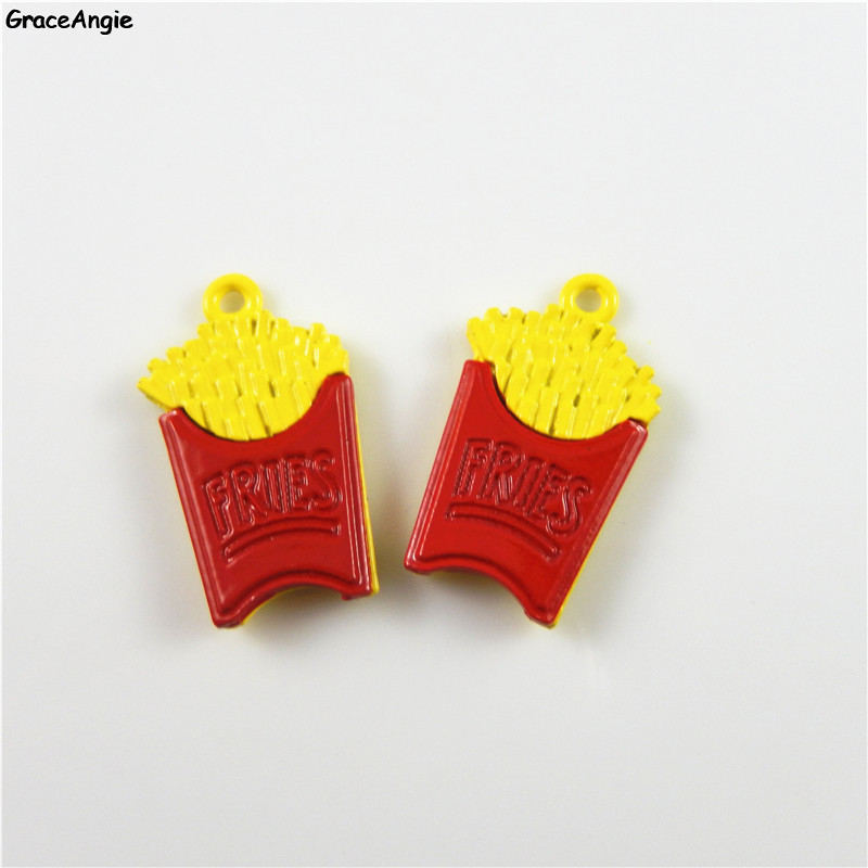 8Pieces/Lot GraceAngie Fries Design Jewelry DIY Charms Enamel Alloy Pendant Hair Accesso ...