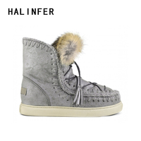 HALINFER dreamcatcher eskimo winter women snow boots genuine leather high quality sheepskin Girl's ankle boots zapatos mujer