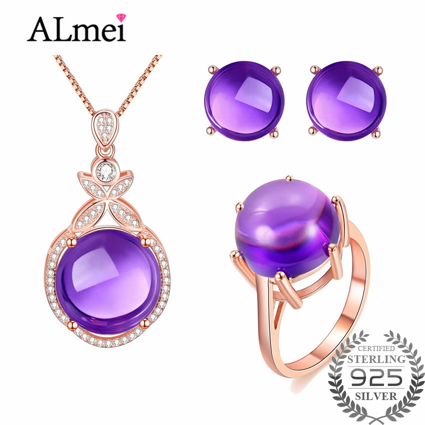 Almei стерлингового серебра 925 Фиолетовый аметист Ювелирные изделия из кристаллов набор Серьги/Подвеска/Цепочки и ожерелья/кольцо для Для женщин бесплатная шкатулка ct005