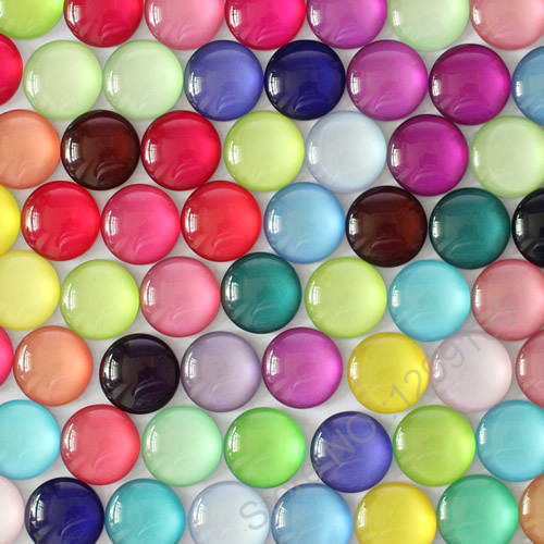 8 10 14 16 18 20 25 30mm Random Mixed Colorful Round Pattern Glass Cabochon Flatback Photo Dome Cameo Pendant Settings k04147(China)