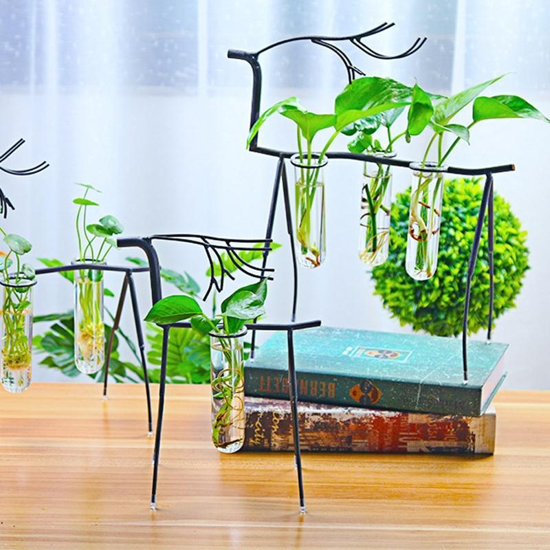 SaiDeng Stylish Transparent Creative Plant Glass Container Simple Big Deer Three Bottles Flower Pot Desk Decor-30