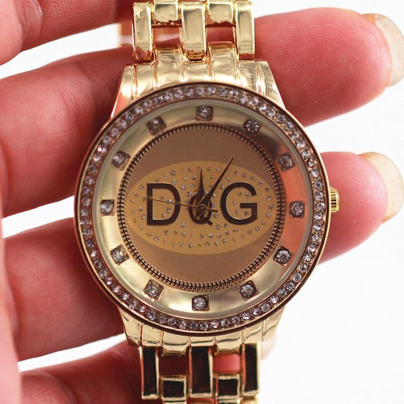 Zegarki 2018Hot Sale High Quality DQG Luxury Brands Women Quartz Watch Golden Full Steel Rhinestone Unisex Sport Watch Montres