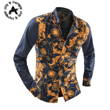 New Brand Dress Men Shirt Long Sleeve Cotton Male Business Casual Printed Fashion Formal Shirts Slim Masculina Camisa