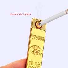 FOCUS USB Electronic Cigarette Lighter Flameless Windproof Portable Lighter Gold Bullion Plasma Arc Lighter Gadgets for Men