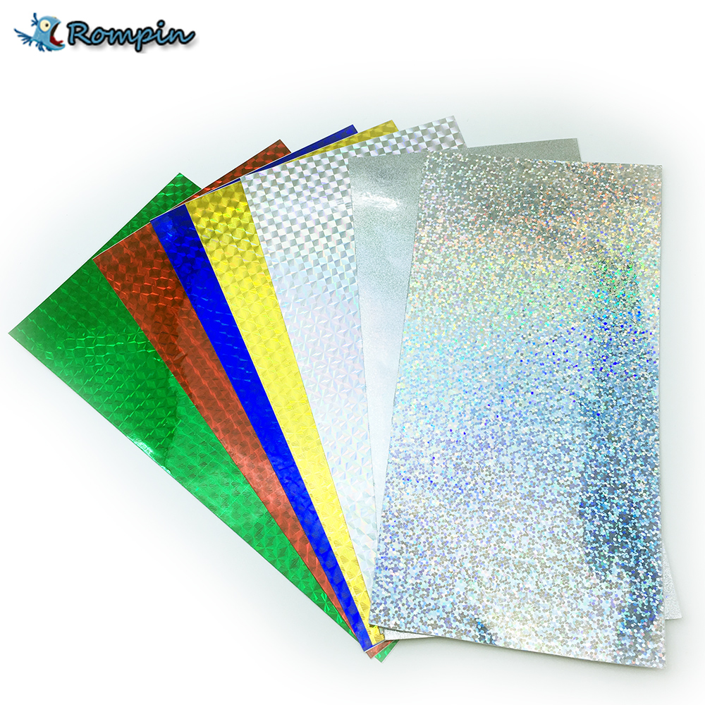 Rompin 7pcs 10*20cm Holographic Adhesive Film Flash Tape Lure Making Fly Tying Material Metal Hard Baits Change Color Sticker 5sheets pack 10cm x 5cm holographic adhesive film fly tying laser rainbow materials sticker film flash tape for fly lure fishing